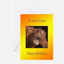 For cutie, Birthday card with a baby orang utan Gr