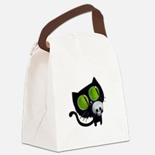 Spooky Black Cat Canvas Lunch Bag