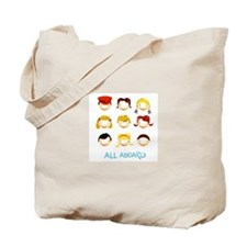 Cute Red Bus Passenger & Conductor Tote Bag