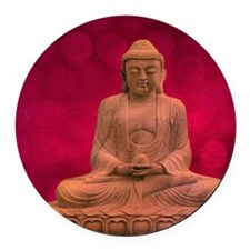 buddha - Erleuchtung - rot Round Car Magnet
