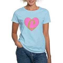 Pink Heart Monogram Initial C T-Shirt