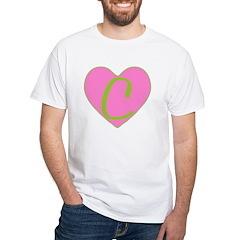 Pink Heart Monogram Initial C Shirt
