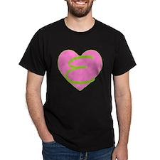 Pink Heart Monogram Initial E T-Shirt