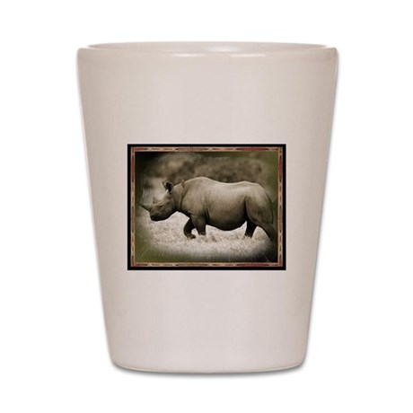 black rhinoceros Shot Glass