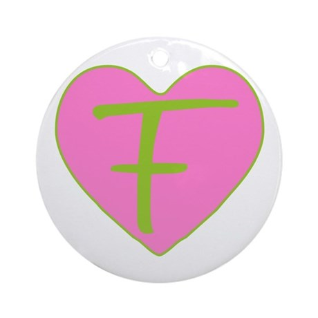 Pink Heart Monogram Initial F Ornament (Round)
