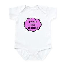 Triple Trouble Pink Triplets Baby Bodysuit
