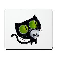 Spooky Black Cat Mousepad
