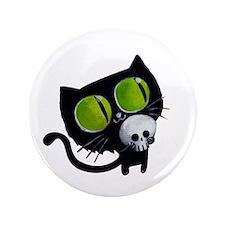"""Spooky Black Cat 3.5"""" Button"""