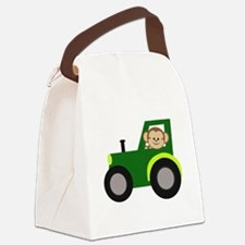 Monkey Driving Tractor Canvas Lunch Bag