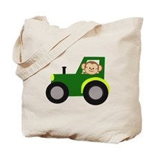 Monkey Driving Tractor Tote Bag