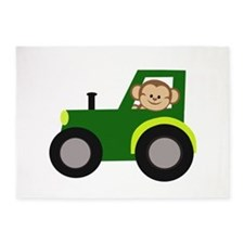 Monkey Driving Tractor 5'x7'Area Rug