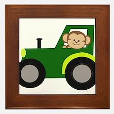 Monkey Driving Tractor Framed Tile
