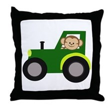Monkey Driving Tractor Throw Pillow