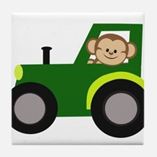 Monkey Driving Tractor Tile Coaster