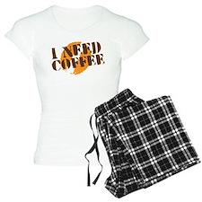 I NEED COFFEE with coffee bean rough pajamas