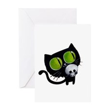 Spooky Black Cat Greeting Cards