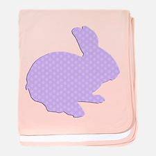 Purple Polka Dot Silhouette Easter Bunny baby blan