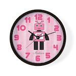 Personalzied Pink Robot Wall Clock