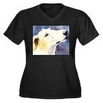 Borzoi Women's Plus Size V-Neck Dark T-Shirt