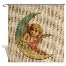 vintage crescent angel moon burlap Shower Curtain