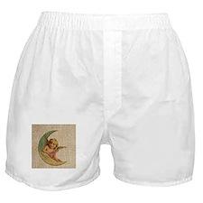vintage crescent angel moon burlap Boxer Shorts