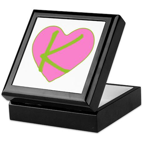 Pink Heart Monogram Initial K Keepsake Box