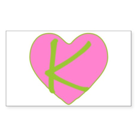 Pink Heart Monogram Initial K Sticker (Rectangular
