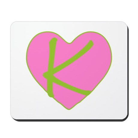 Pink Heart Monogram Initial K Mousepad