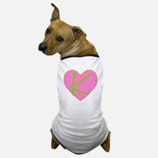 Pink Heart Monogram Initial K Dog T-Shirt