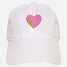 Pink Heart Monogram Initial K Baseball Baseball Cap