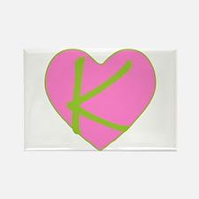 Pink Heart Monogram Initial K Rectangle Magnet