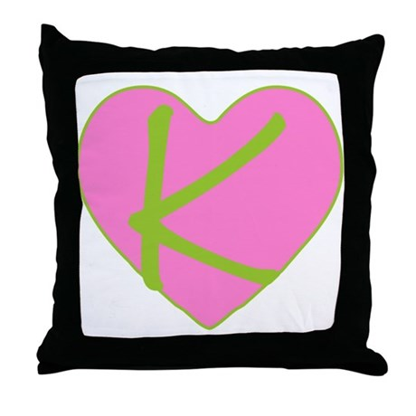 Pink Heart Monogram Initial K Throw Pillow