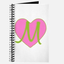 Pink Heart Monogram Initial M Journal
