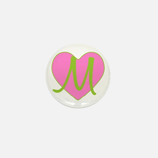 Pink Heart Monogram Initial M Mini Button