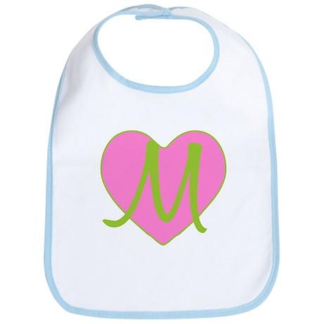 Pink Heart Monogram Initial M Bib
