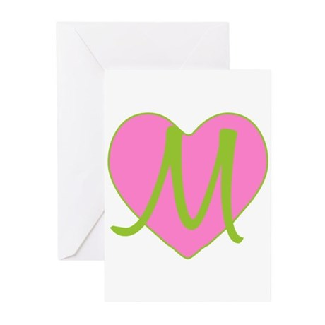 Pink Heart Monogram Initial M Greeting Cards (Pack