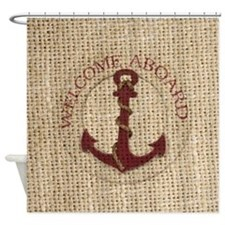 modern anchor burlap nautical art Shower Curtain