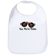 Twins Baby Monkeys 2 Girls Bib