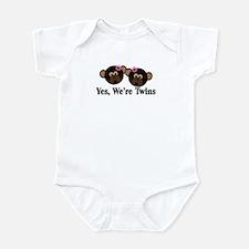 Twins Baby Monkeys 2 Girls Infant Bodysuit