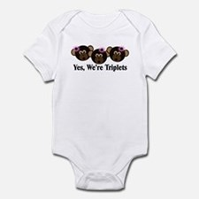 Triplets Baby Monkeys 3 girls Infant Bodysuit
