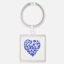 Connecticut Heart Square Keychain
