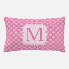 Monogram Pink Polka Dots Pattern Pillow Case