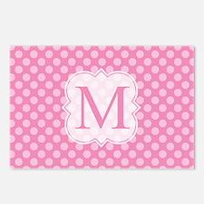 Monogram Pink Polka Dots Pattern Postcards (Packag