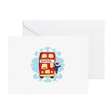 Cute Red Bus Any occasion Cards (Pk of 10)