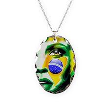 Brazil Flag Girl Portrait Necklace