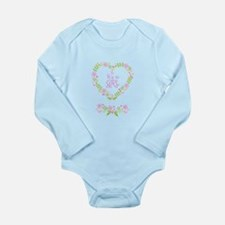 its a girl, floral heart wreath Body Suit