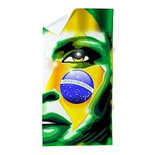 Brazil Flag Girl Portrait Beach Towel