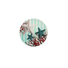 modern seashells coral stripes beach decor Mini Bu