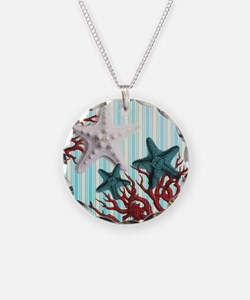 modern seashells coral stripes beach decor Necklac