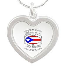 Boricua 100 Proof2 Silver Heart Necklace
